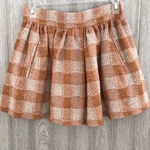 Free People Plaid Pleated Mini Skirt Small